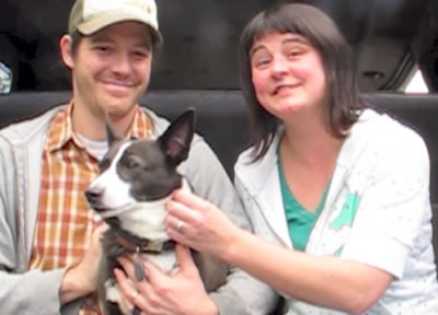 Adopted dog Zolo with Charlie and Alexis
